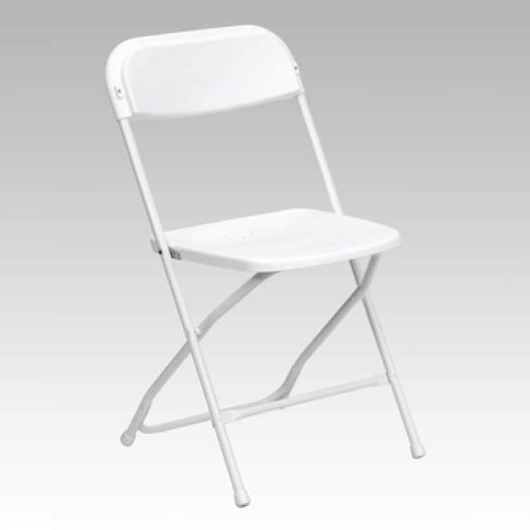 ($2)  Children's White Plastic Folding Chairs